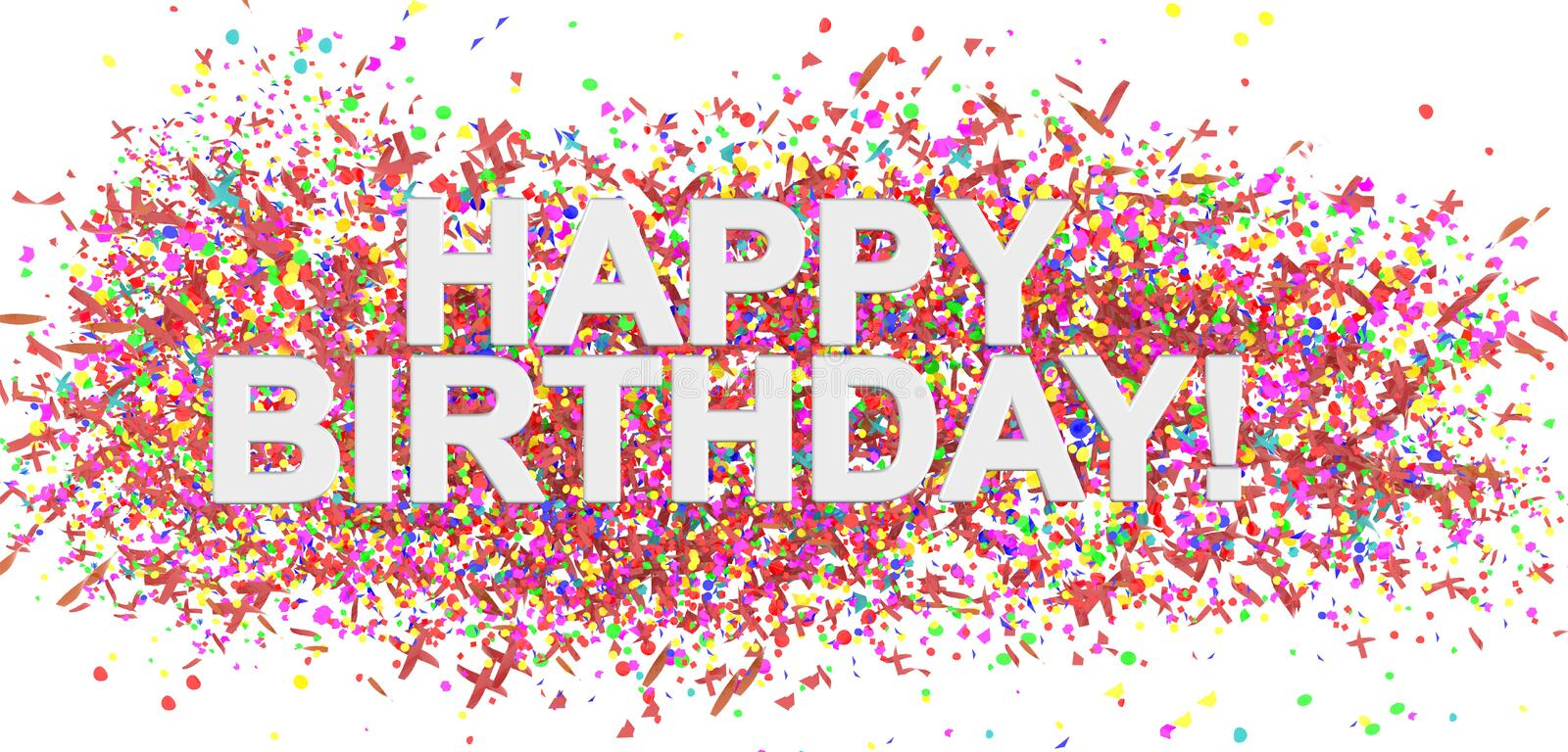 Happy birthday, text word party confeti decoration background colors - 3d rendering royalty free illustration