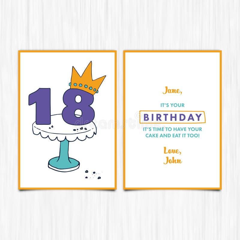 Happy Birthday 18th Years Greeting Card Stock Vector Illustration