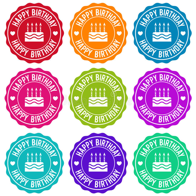 Happy Birthday Themed Label Design Set. vector illustration