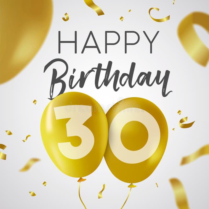 Happy birthday 30 thirty year gold balloon card royalty free illustration