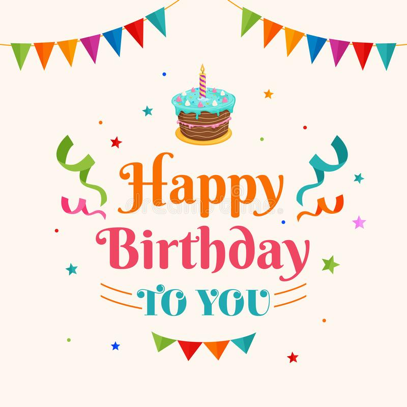 Happy birthday to you background vector. birthday cake illustration with party flag and confetti ornament. Greeting, banner. Backdrop, poster template vector illustration