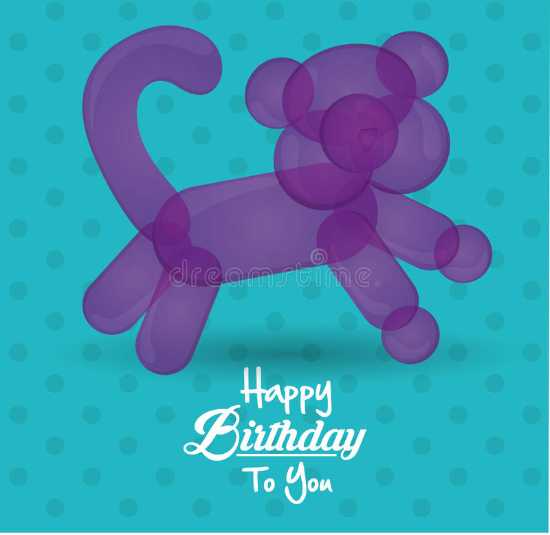 Happy birthday to you card with balloon cat shape dot turquoise background vector illustration