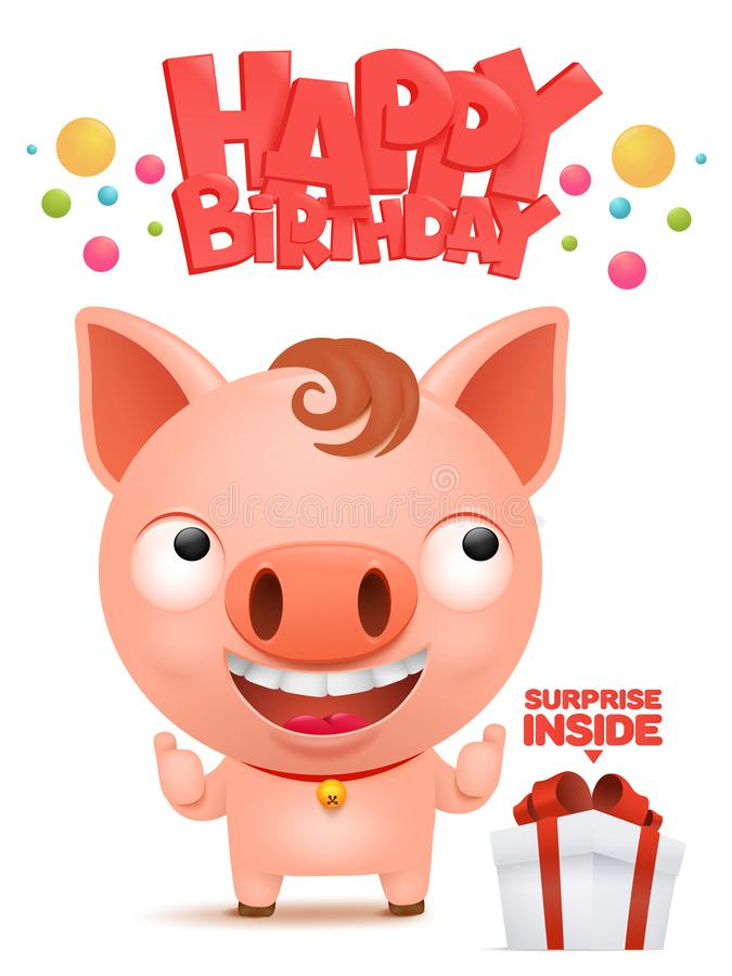 Happy birthday to you Funny little pig cartoon emoji character stock illustration