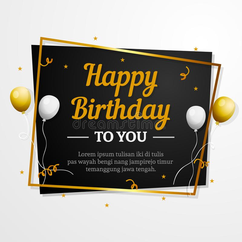 Happy Birthday to You greeting card. Elegant professional banner template. Happy Birthday to You decorative greeting card with golden box frame and silver gold royalty free illustration