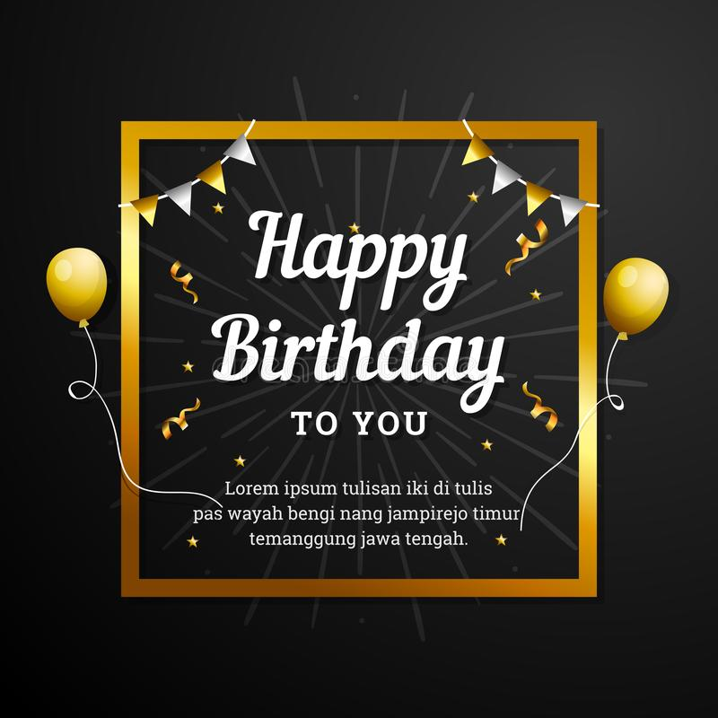 Happy Birthday to You greeting card. Elegant professional banner template. With golden frame, ribbon decoration and flying balloons royalty free illustration