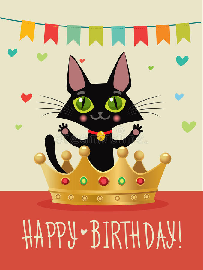 Happy birthday to you happy birthday card with funny black cat and download happy birthday to you happy birthday card with funny black cat and gold crown bookmarktalkfo Gallery