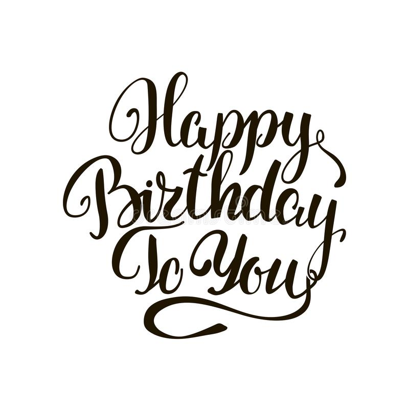 Happy birthday to you lettering greeting card vector illustration