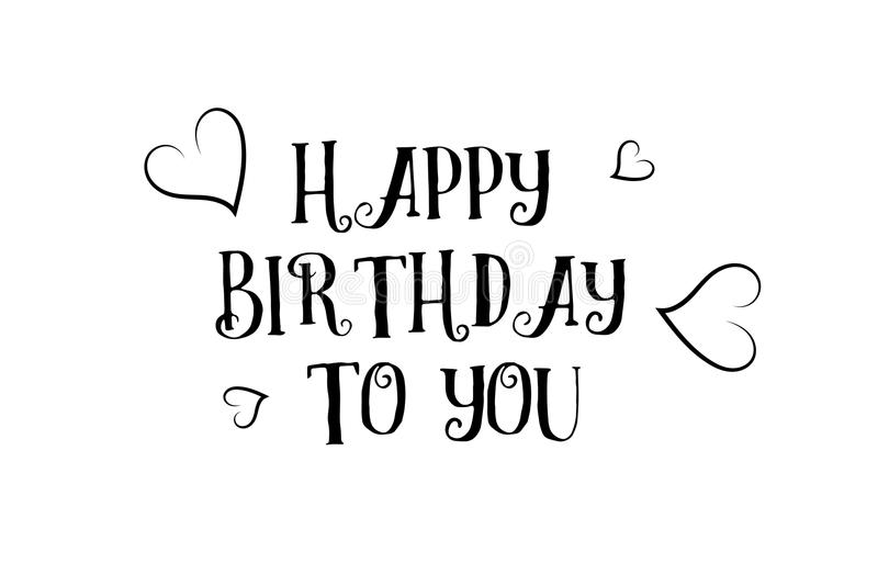 happy birthday to you love quote logo greeting card poster design stock illustration