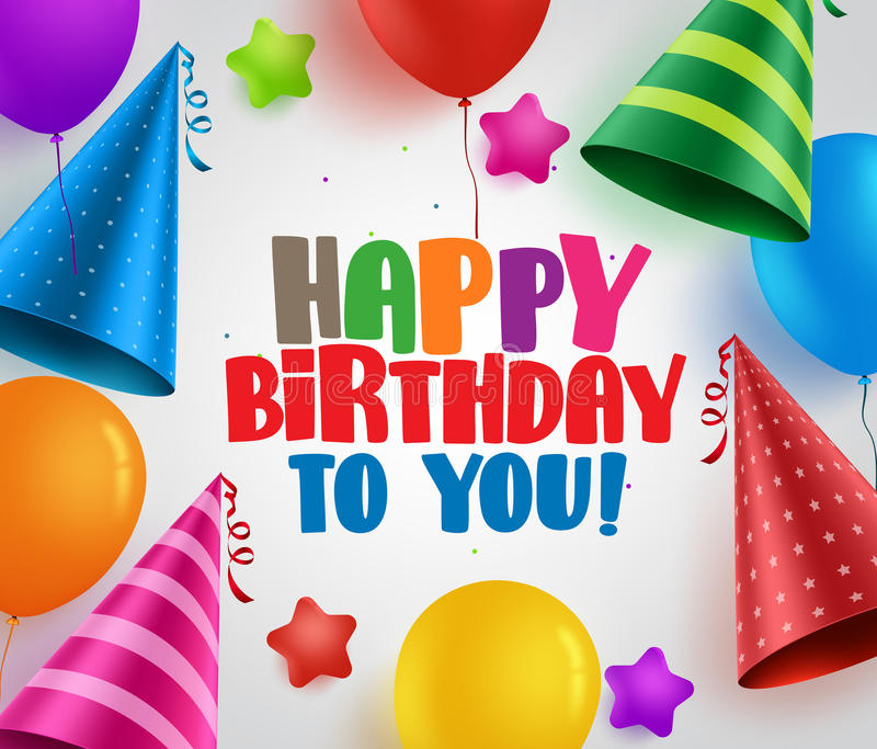 Happy birthday to you vector greeting card background design stock illustration