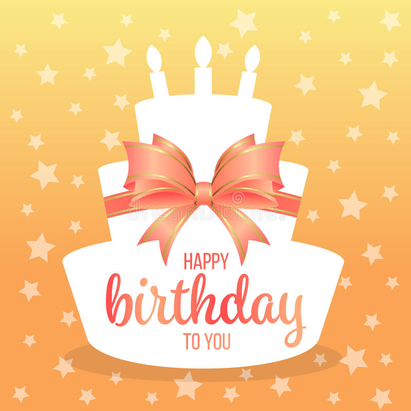 Free Happy Birthday To You With Text On White Paper Cake Shape And Sweet Orange Bow And Star Background Vector Design Royalty Free Stock Images - 97591079
