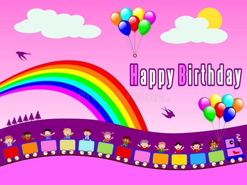 Happy Birthday Train - Girl vector illustration