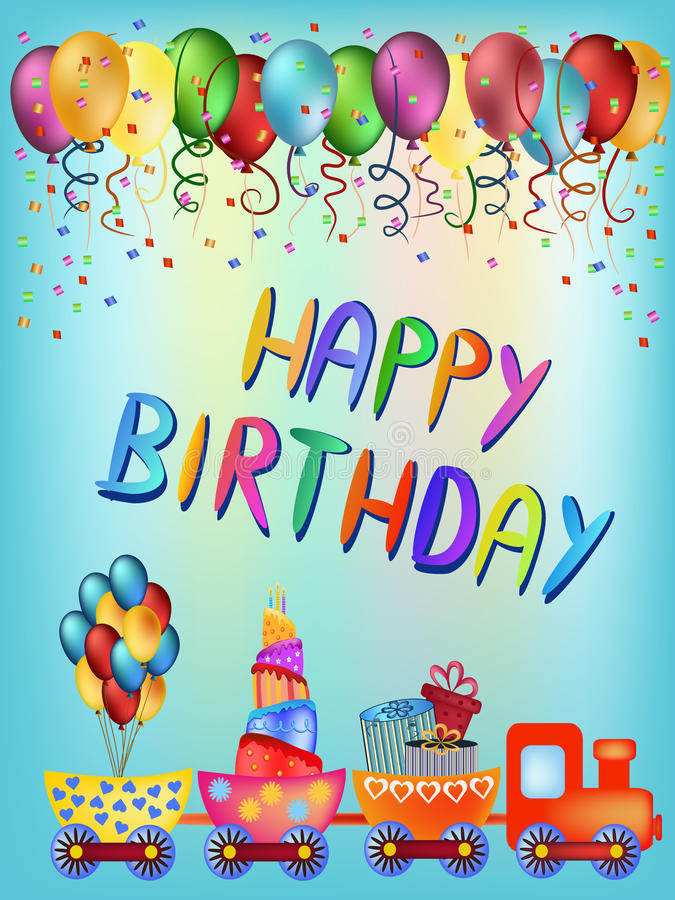 Happy birthday train greeting card stock image