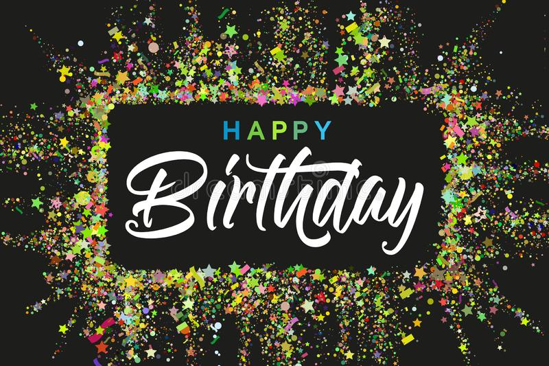Happy Birthday typography design for greeting cards and invitation, with confetti and colorful text, elegant party stock illustration