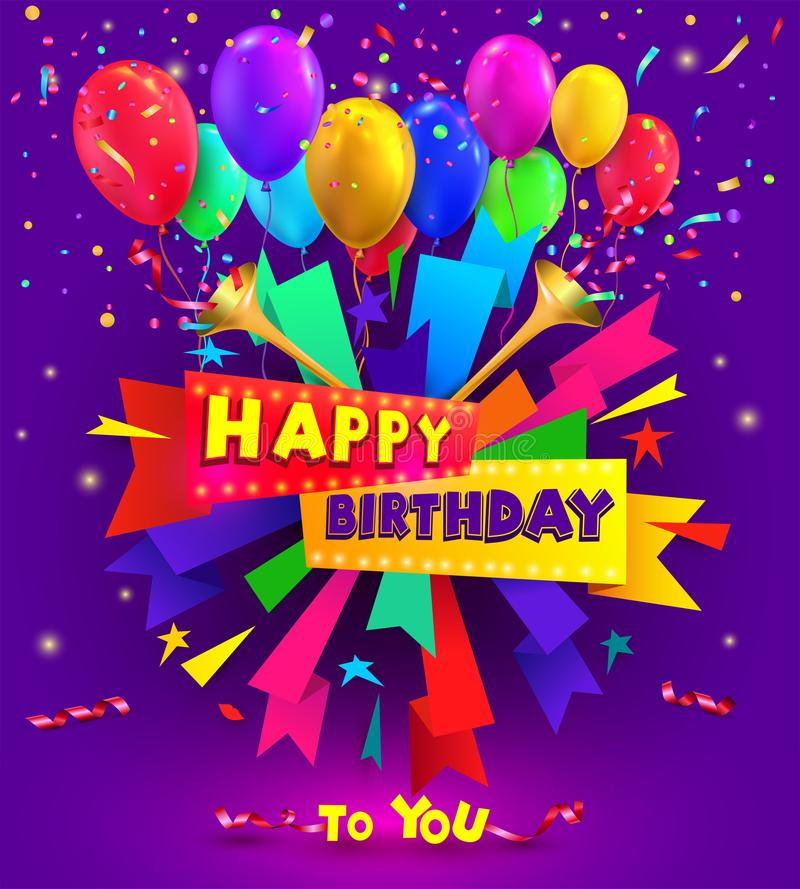 Happy birthday typography design for greeting poster and cards with balloon, confetti and gift box, design template for birthday c. Elebration. Vector vector illustration