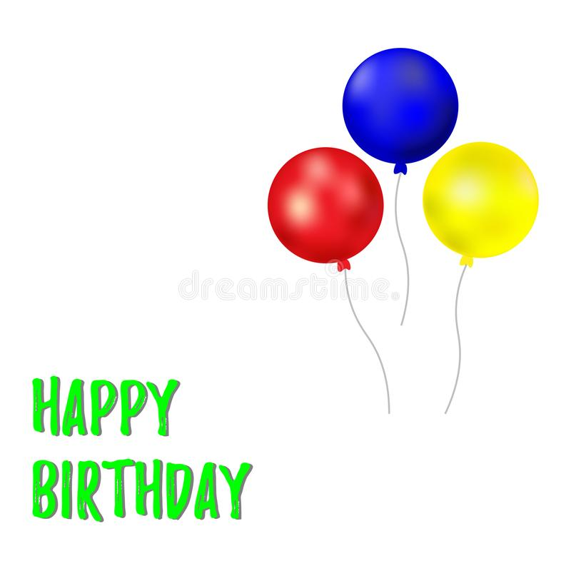Happy Birthday typography vector design for greeting cards and poster with balloons. Design template for birthday celebration stock illustration