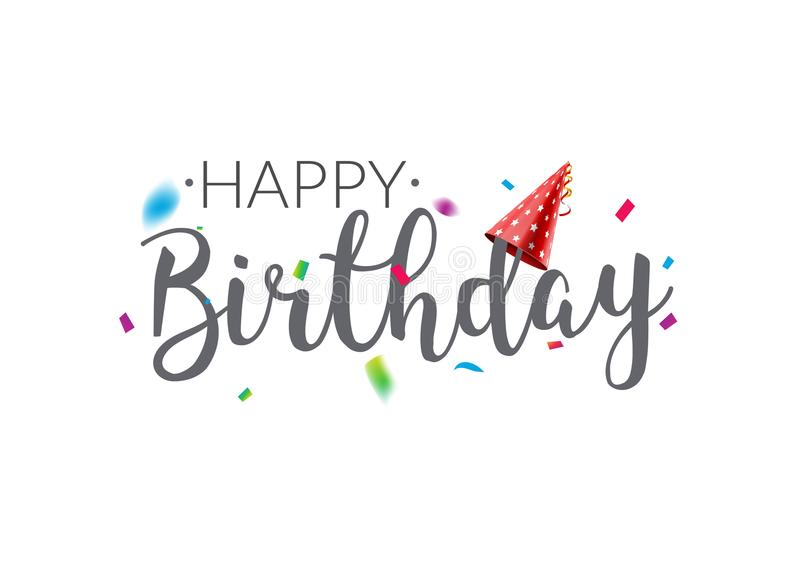 Happy Birthday typography vector design template poster. Greeting card confetti banner for birthday stock illustration