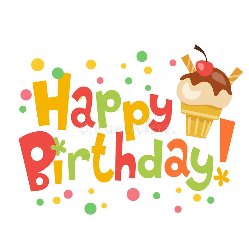 happy birthday vector banner with cute ice cream stock vector rh dreamstime com birthday vector icon free birthday vector images