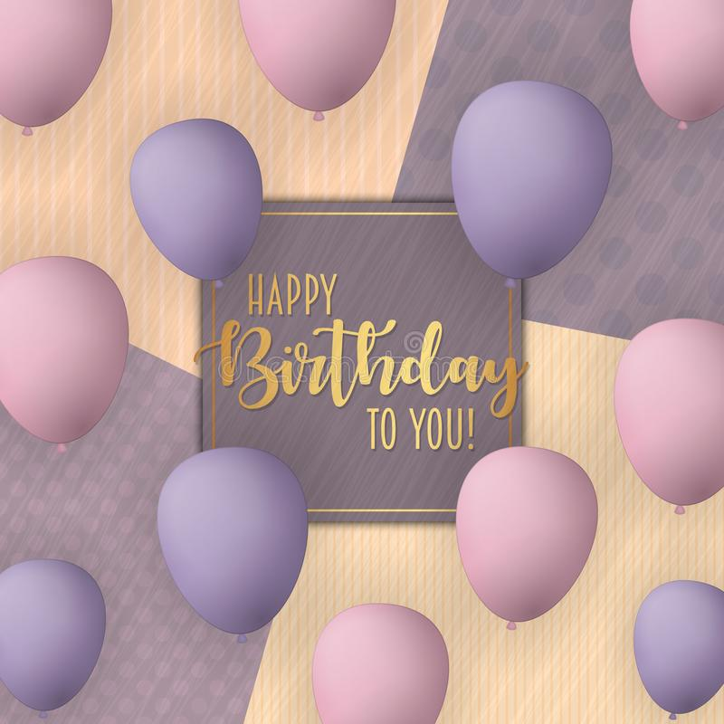 Happy Birthday vector card design with flying balloons. Vintage trendy background. royalty free illustration