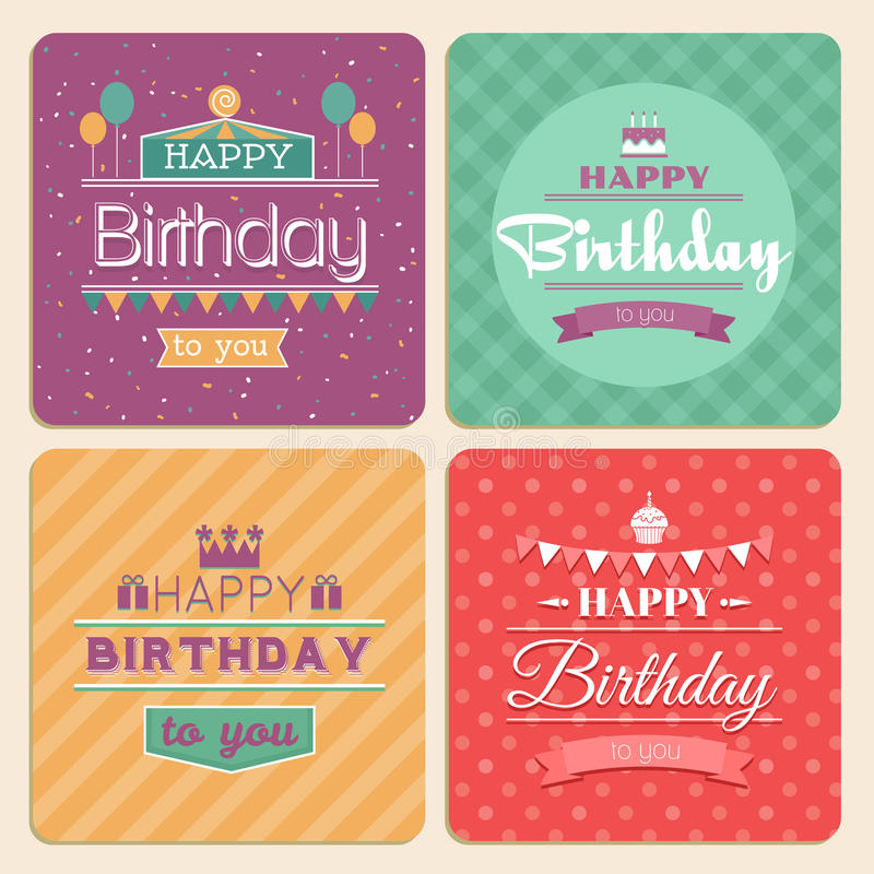 Happy birthday vector card set in retro design stock vector download happy birthday vector card set in retro design stock vector illustration of element stopboris Gallery