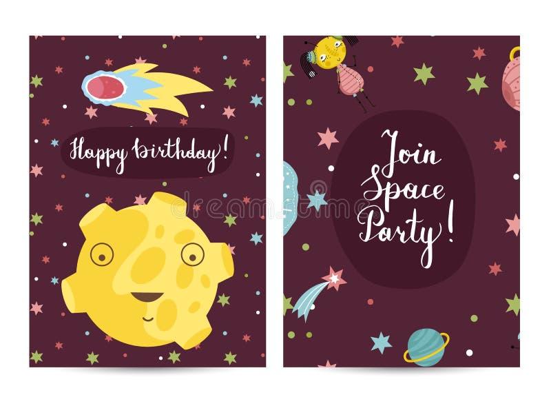 Happy Birthday Vector Cartoon Greeting Card Stock Vector