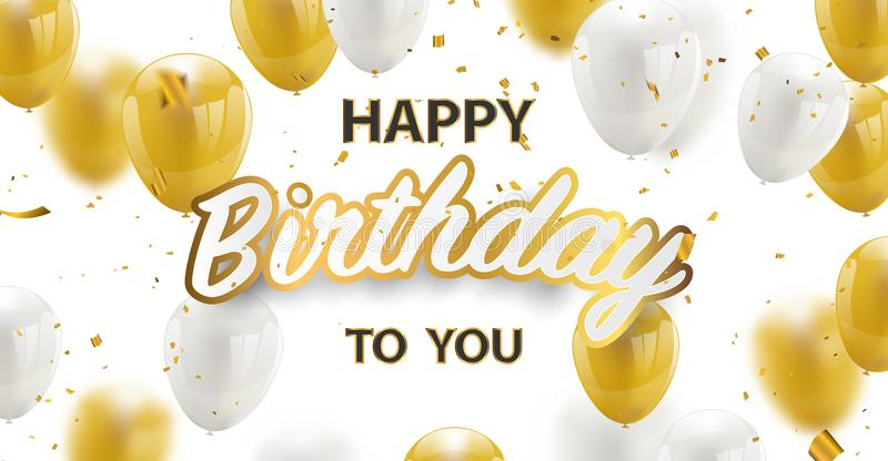 Happy birthday vector Celebration party banner Golden foil confetti and white and glitter gold balloons. Happy birthday vector Celebration party banner Golden stock illustration