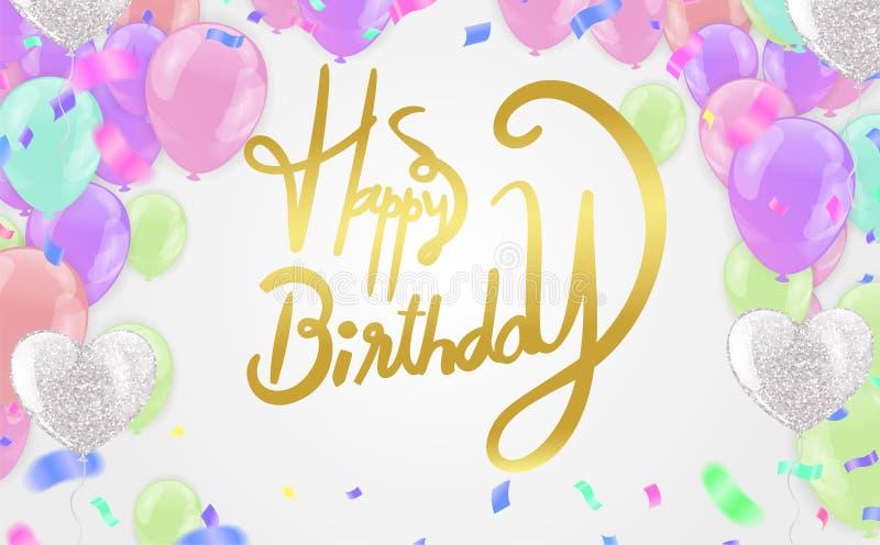 Happy birthday vector Celebration party print design. Handwritten modern brush lettering white background isolated vector vector illustration