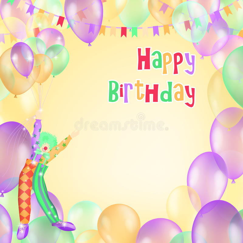 Happy Birthday vector design for greeting cards and poster with balloon, confetti. And cheerful clown stock illustration