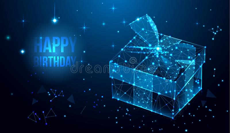 Happy Birthday vector design for greeting cards and poster with gift box, ribbon. Geometric polygonal greeting card. Polygonal wireframe mesh art, poly low vector illustration
