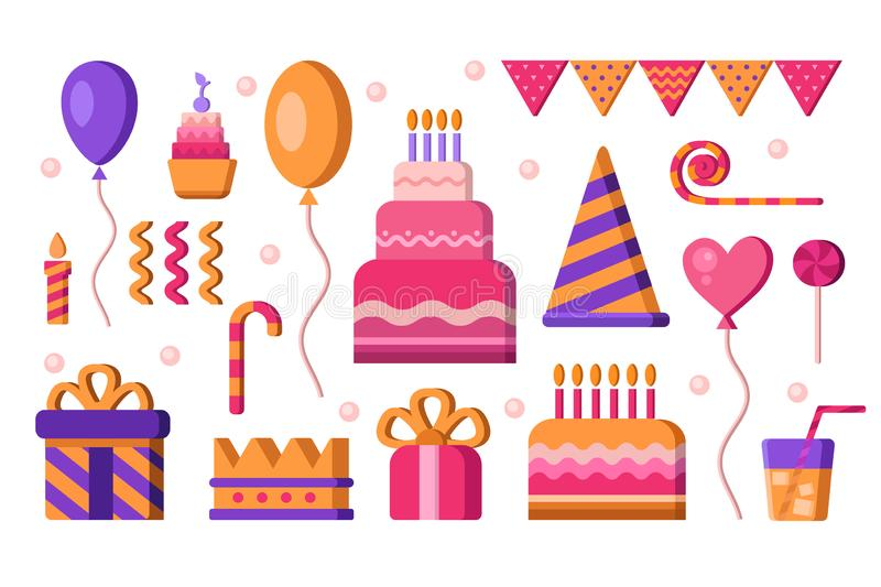 Happy Birthday vector elements royalty free stock images