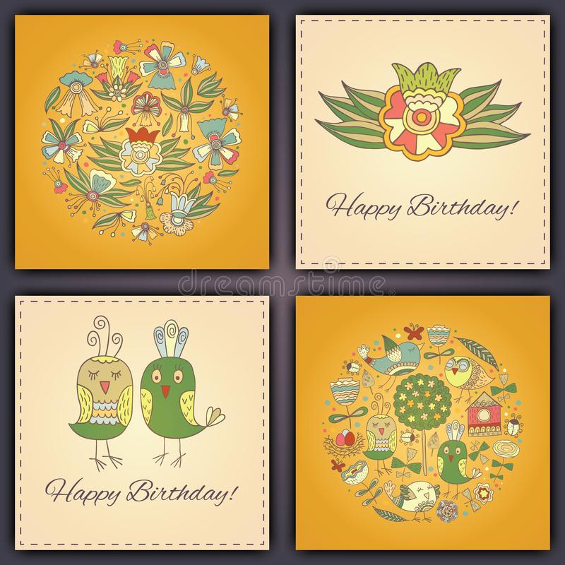Happy birthday vector greeting card with abstract doodle birds and flowers. stock photography