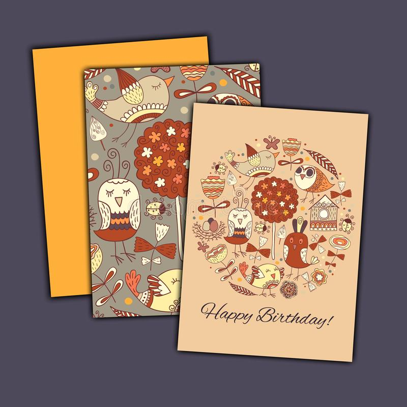 Happy birthday vector greeting card with abstract doodle birds and flowers. stock images