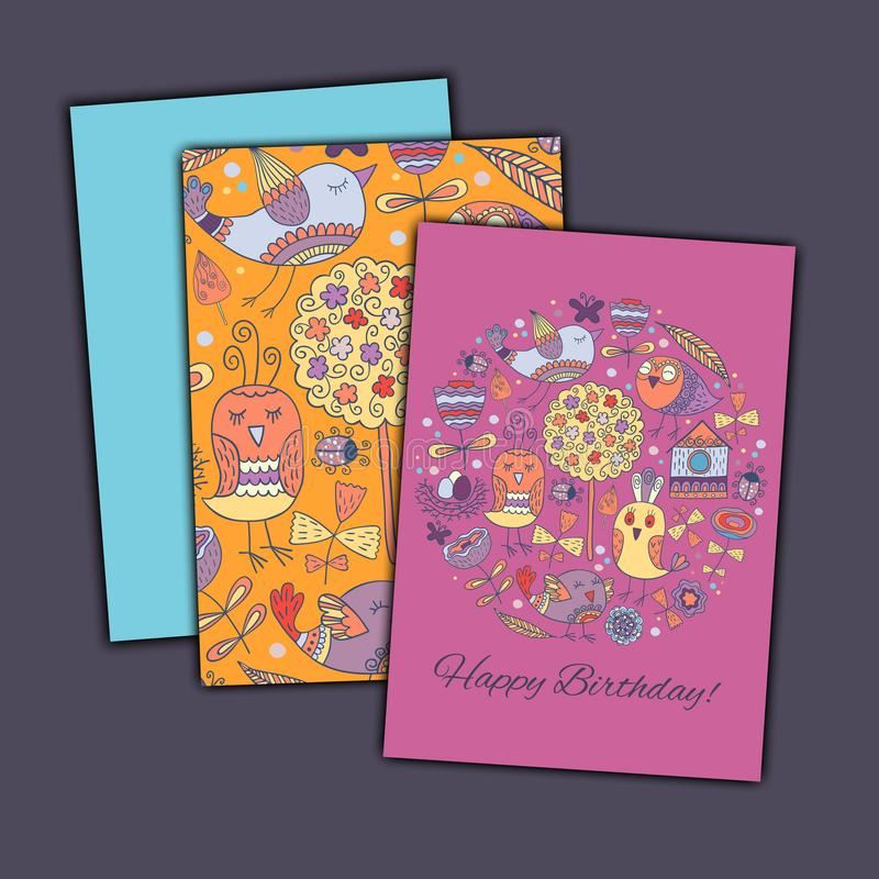 Happy birthday vector greeting card with abstract doodle birds and flowers. stock photo