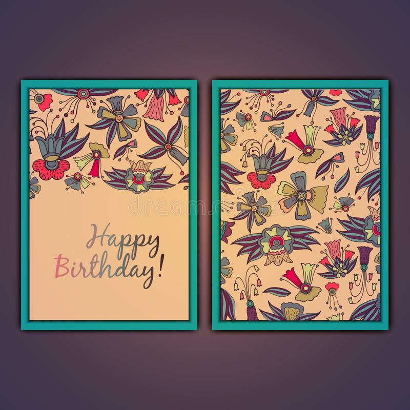 Happy birthday vector greeting card with abstract doodle flowers. royalty free stock photography