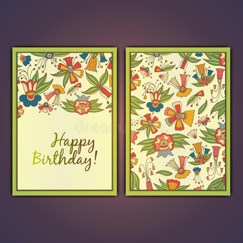 Happy birthday vector greeting card with abstract doodle flowers. royalty free stock photos