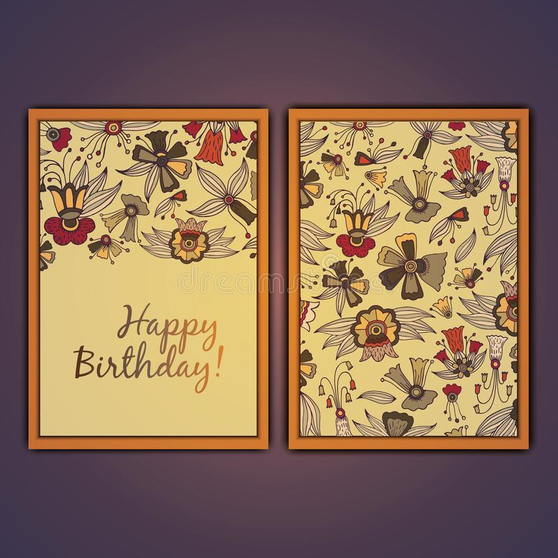 Happy birthday vector greeting card with abstract doodle flowers. stock photo