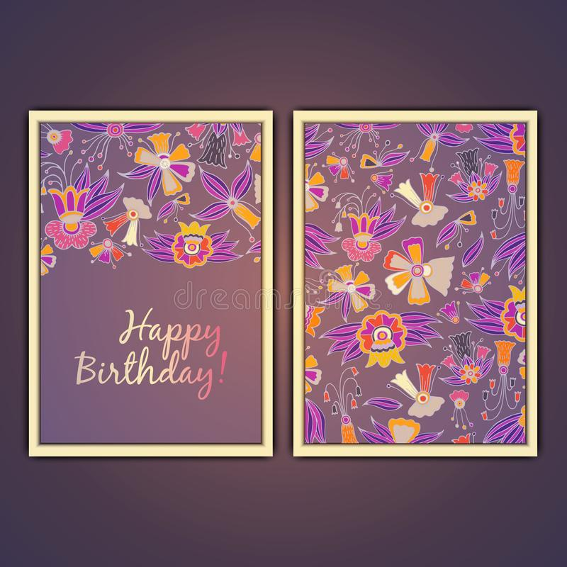 Happy birthday vector greeting card with abstract doodle flowers. vector illustration