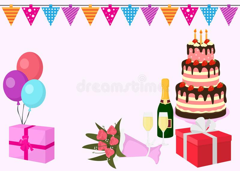 Happy birthday vector greeting card background with colorful balloons, gift box with ribbons, flowers, large cake with vector illustration