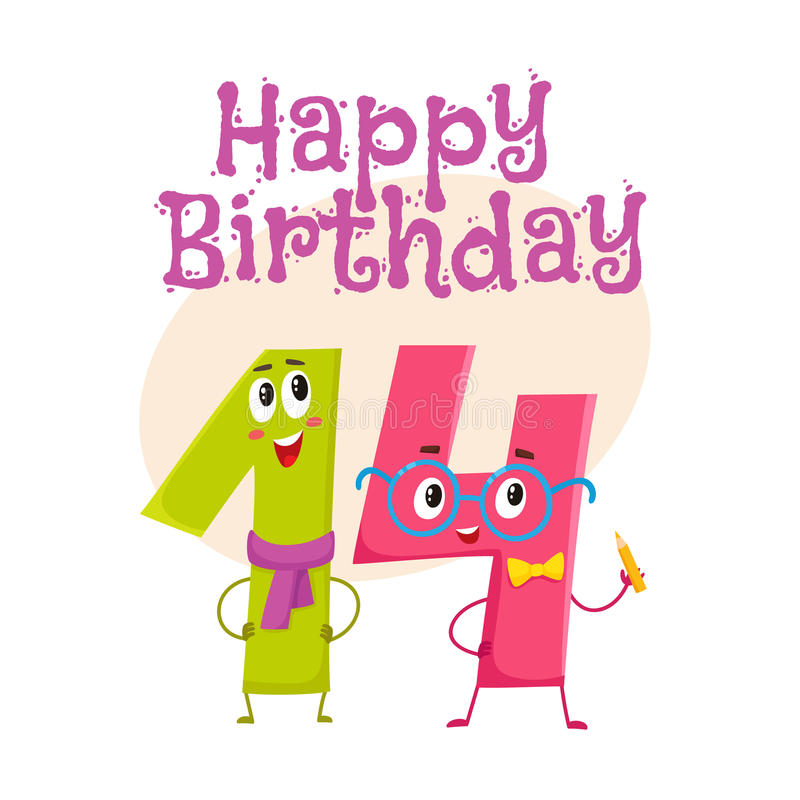 Happy birthday vector greeting card design with fourteen number characters. Happy birthday vector greeting card, poster, banner design with cute and funny vector illustration