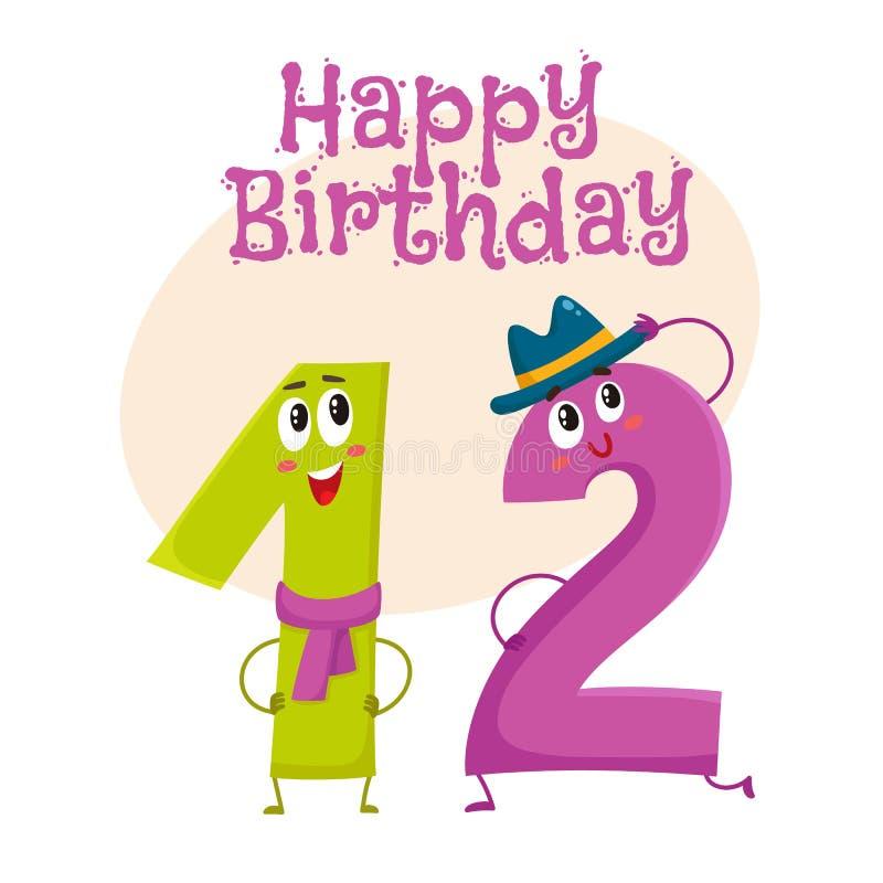 Happy birthday vector greeting card design with twelve number characters. Happy birthday vector greeting card, poster, banner design with cute and funny twelve stock illustration