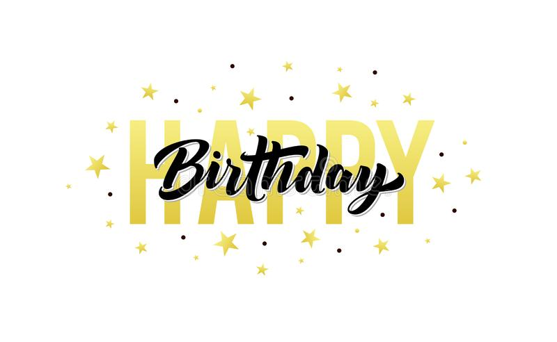 Happy Birthday, vector greeting card. Vintage birthday text, gold stars and confetti for party and celebration. Banner vector illustration