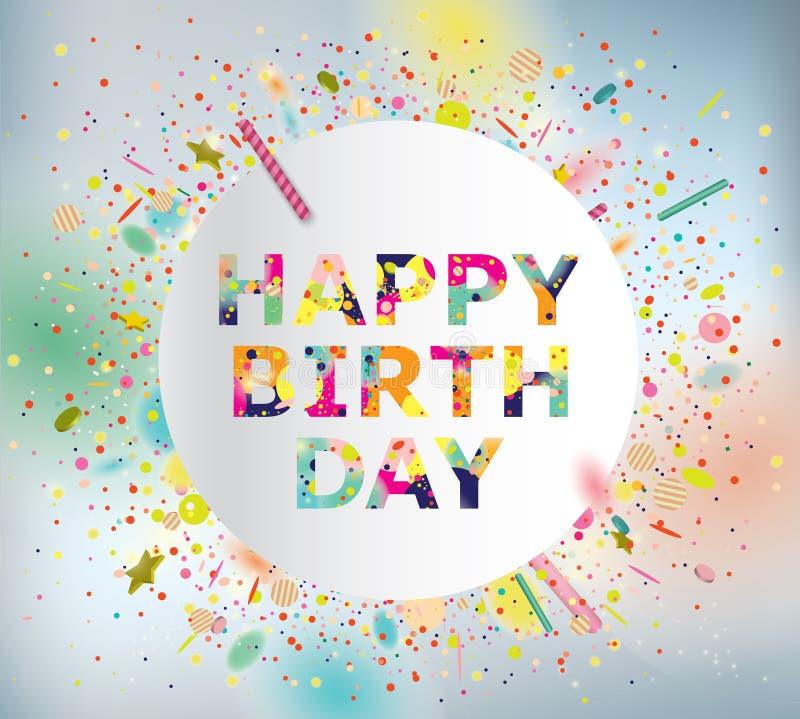 Happy Birthday. Vector Illustration of a Happy Birthday Greeting Card royalty free illustration
