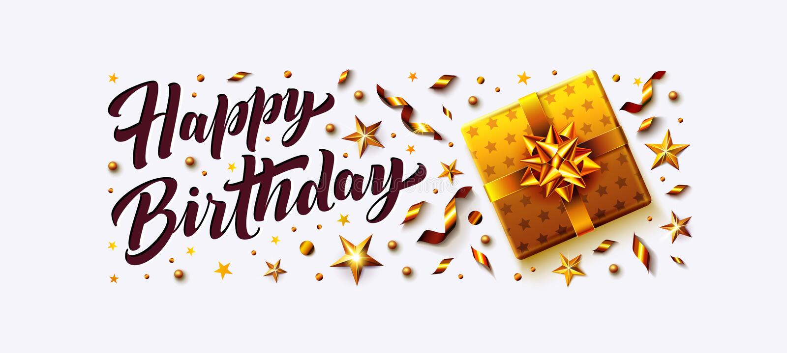 Happy Birthday vector illustration poster and cards with golden gift box, confetti, stars, streamers and Happy Birthday royalty free illustration