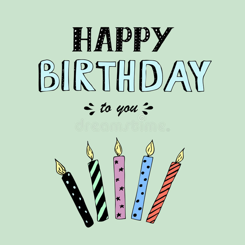 Happy Birthday vector lettering, party illustration with candles. Happy Birthday lettering, vector illustration with candles. Good for header, invitation, banner royalty free illustration