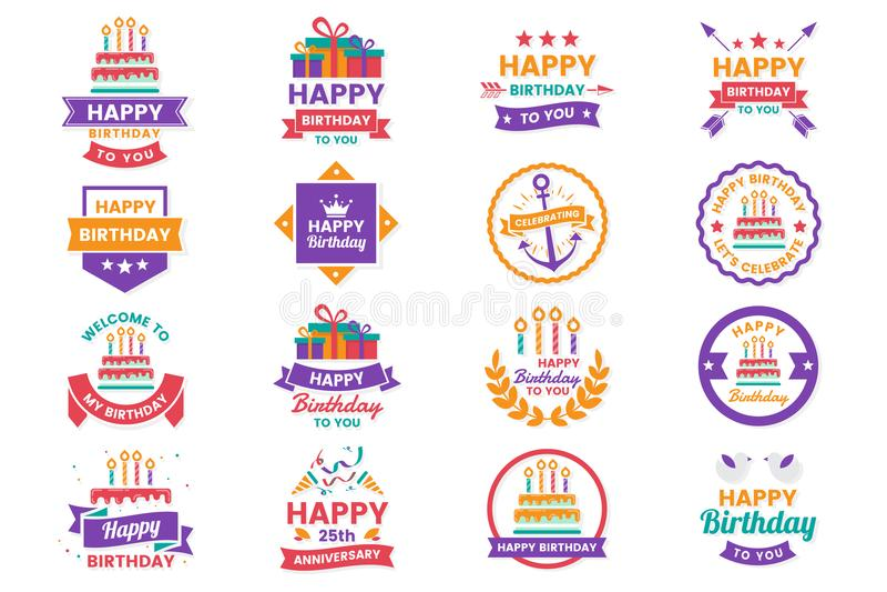 Happy Birthday Vector Logo for banner. Poster, flyer vector illustration