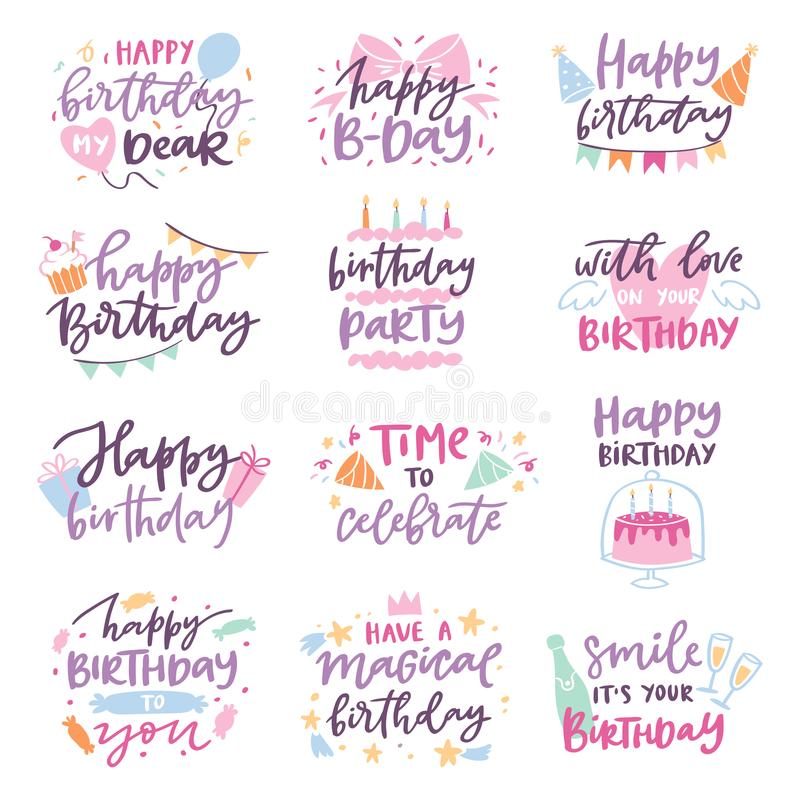 Happy birthday vector quote anniversary text sign kids birth lettering type with calligraphy letters or textual font for royalty free illustration