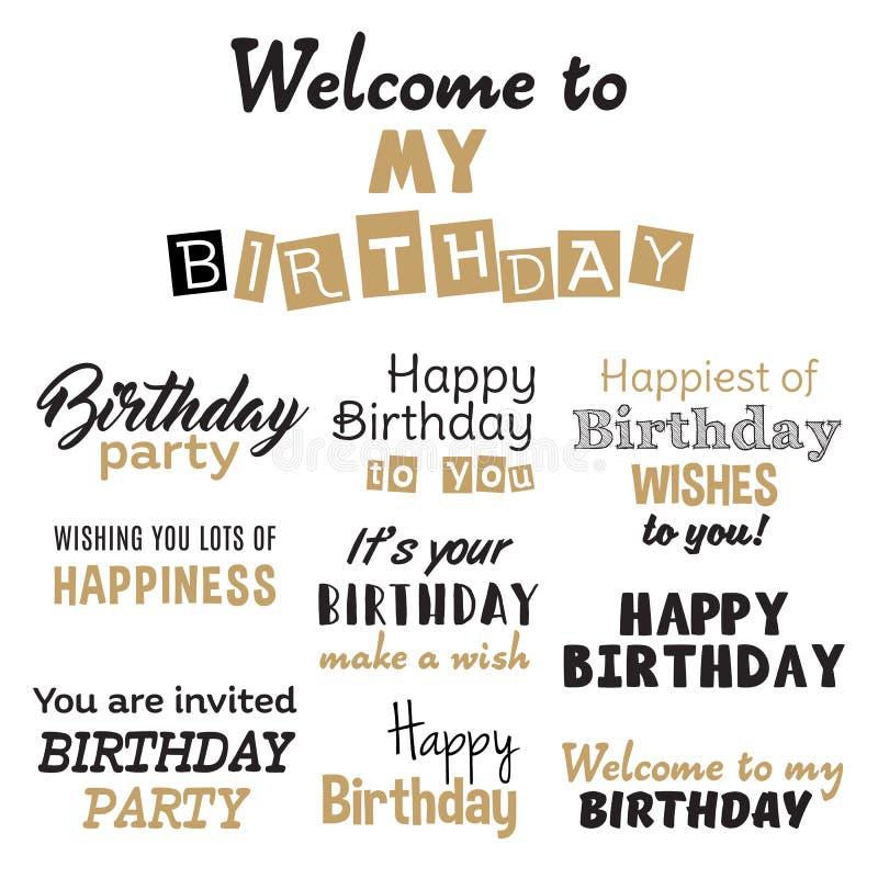 Happy birthday vector set stock illustration