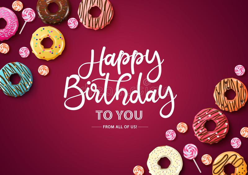 Happy birthday vector typography with donuts. Happy birthday text with empty space for message royalty free illustration