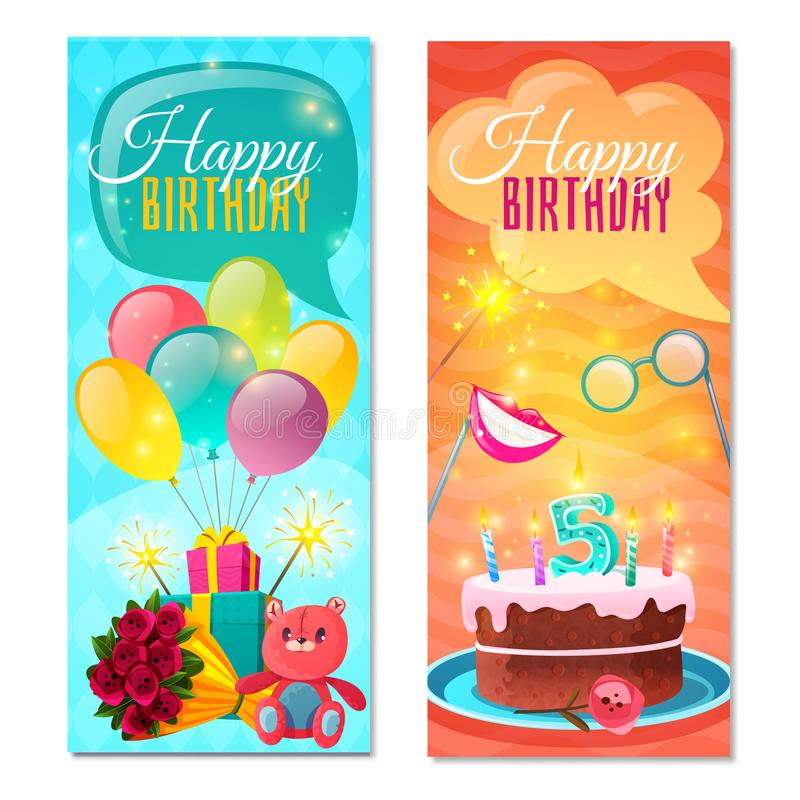 Happy Birthday Vertical Banners royalty free illustration