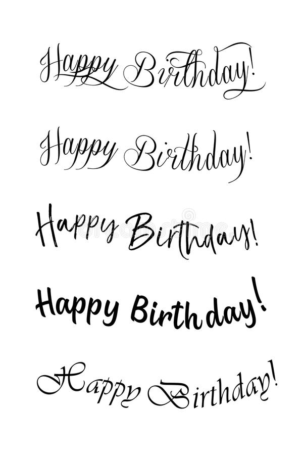 Handwritten modern brush lettering of Happy Birthday on white background. Typography design. Greetings card. vector illustration