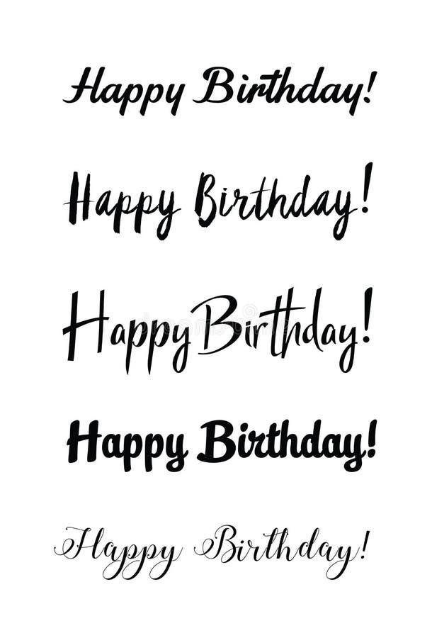 Handwritten modern brush lettering of Happy Birthday on white background. Typography design. Greetings card. royalty free illustration